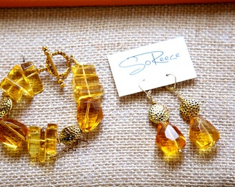 Yellow, Gold, bracelet AND earrings - The Glamorous Life - Good as Gold SET