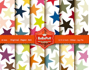 Instant Downloads, Printable Star Papers, Scrapbooking Papers. For Your Handmade Crafts Projects. Personal and Small Commercial Use. BP 0666