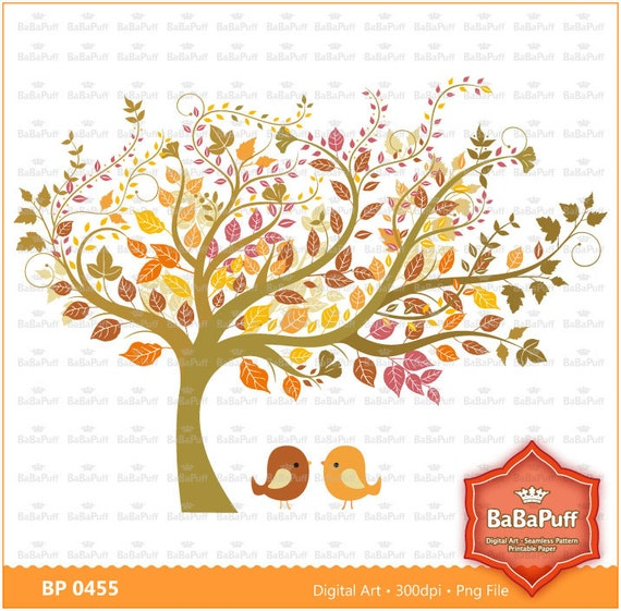 Fall Tree Clip Art. For Wedding Invitation Cards Making. Personal and ...