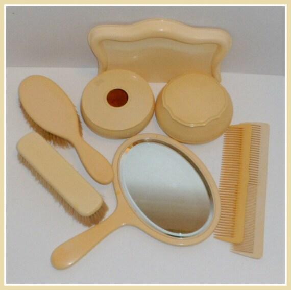 Vintage Celluloid Vanity Dresser Set 8 Piece Grooming Set
