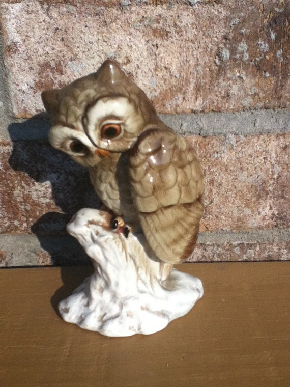 Vintage owl 70s home decor retro mod nature made in japan