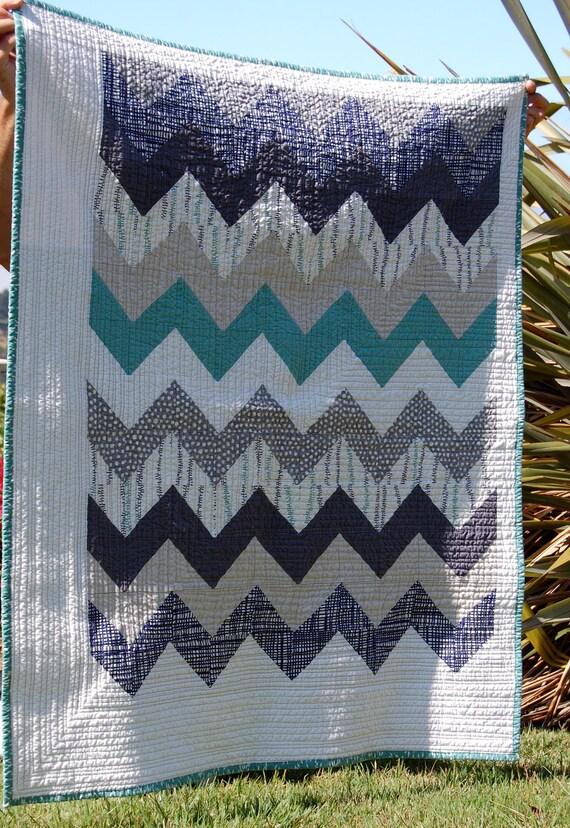 Handmade Chevron Design Lap/Baby Quilt- Lotta Jansdotter and linen