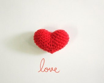 Set of 2 Big Red Crochet Amigurumi Heart, Crocheted Heart Ornament, Size  2 x 3 inches