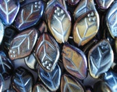 Czech Opaque Black Glass Leaves with brown iridescent (iris) coating  and side hole 12x7mm