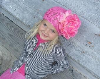Crochet beanie Hat. Hot pink crochet beanie hat with big peony flower