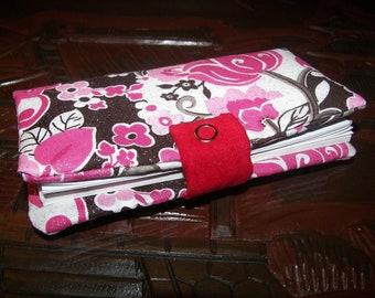 Fabric Check Book Cover - Cherry Blossom (sakura)