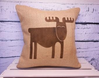 Moose/elk burlap pillow - child's elk/moose/reindeer pillow - rustic nursery - name can be added