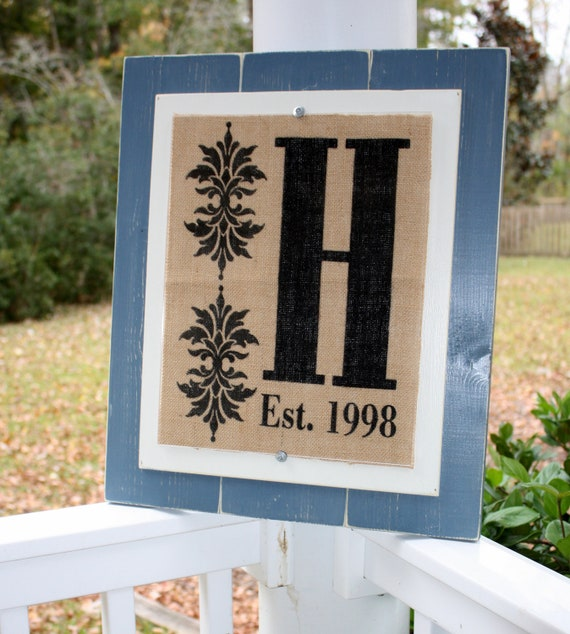 Burlap wall decor with family monogram and established date - Ready to frame - Burlap piece only - frame not included