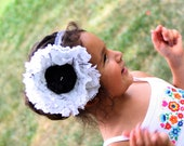 White and Black Dictionary Print Floral Headband