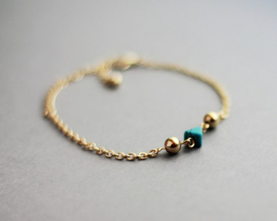 Single Faceted Bead Bracelet (Teal - Gold) - Modern Handmade Jewellery