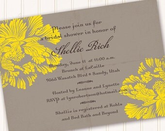 bridal shower invitations, lemon and gray bridal shower invitations, bright yellow graduation invites, yellow and gray party, IN155