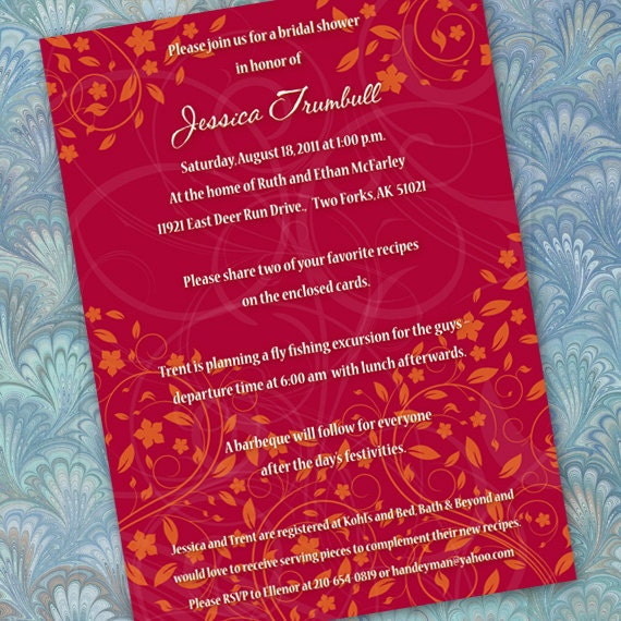 bridal shower invitations, recipe cards, bright red bridal shower, rusty red invitation, red and orange party, orange and red bride