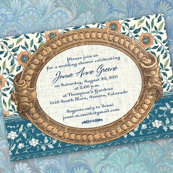 bridal shower invitations, teal and gold bridal shower invitations, aqua and bronze wedding shower invitations, aqua floral invitations