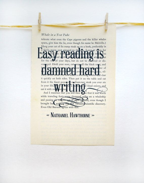 Inspirational quote print, recycled book paper, writing quotes