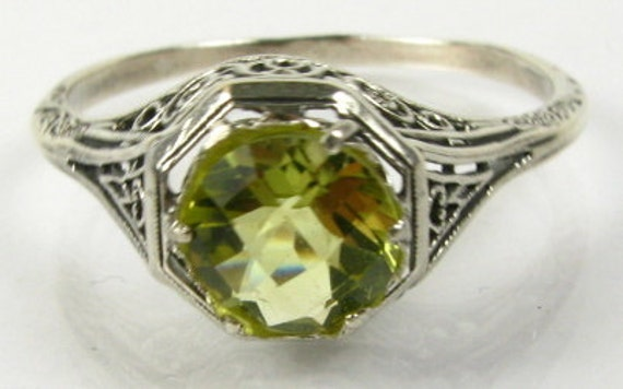 Lemon Quartz Silver Victorian Filigree Ring