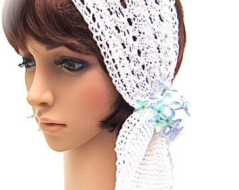 Hand knit SNOW GRACE mercerized cotton lace neck warmer, Headband Head Wrap Hair Retro Bridal WEDDING