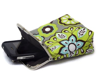 Neon Green Smartphone Case / Fabric Cigarette Case with pocket inside - Silver Frame