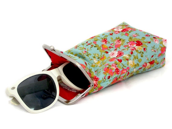 Sunglasses Case - Mint Green with Red Flowers 100% cotton  - Silver Frame