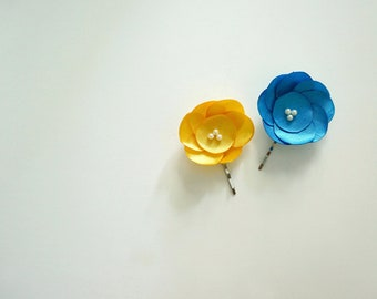 Summer Wedding Hair Pins- Blue and Yellow