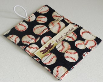 Baseball Fabric Mini Wallet - with Button and Closure. Business Card Holder, Credit Card Wallet, Small Wallet.