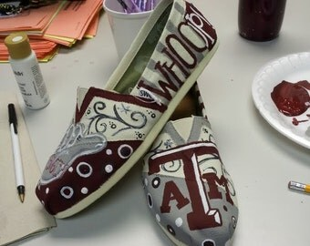 Texas A&M Aggie themed - Handpainted TOMS