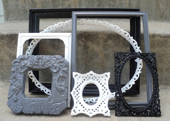 Black White and Gray Picture Frame Set Ornate