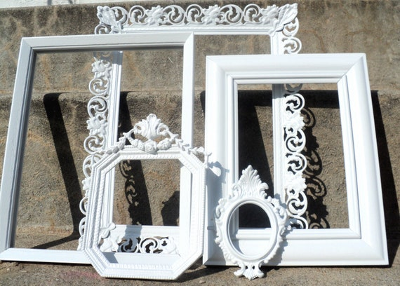 White Ornate Picture Frame Set