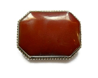 Antique Carnelian Brooch Sterling Victorian 1900s