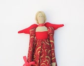 Christmas angel fabric doll Tilda style in lovely red holidays dress,cloth doll,fabric doll art doll- gift and decor for Christmas holidays