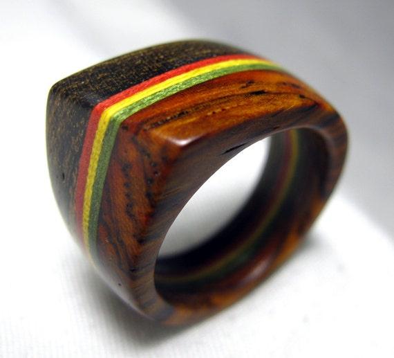 Rasta Wood Ring - Distinct Angled Ridge
