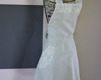 Apron Mint Green and Cream Gingham Full Apron