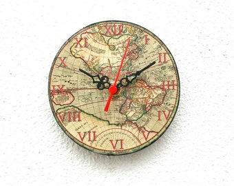 World map Wooden Clock, Magnetic Clock, Vintage Clock, Little Clock, Small Clock, Map of America -  5 inch - 12 cm, ohtteam