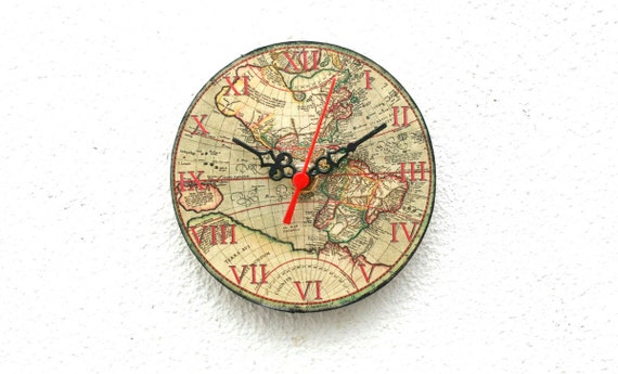 World map wooden clock magnetic clock vintage clock little like this item gumiabroncs Images