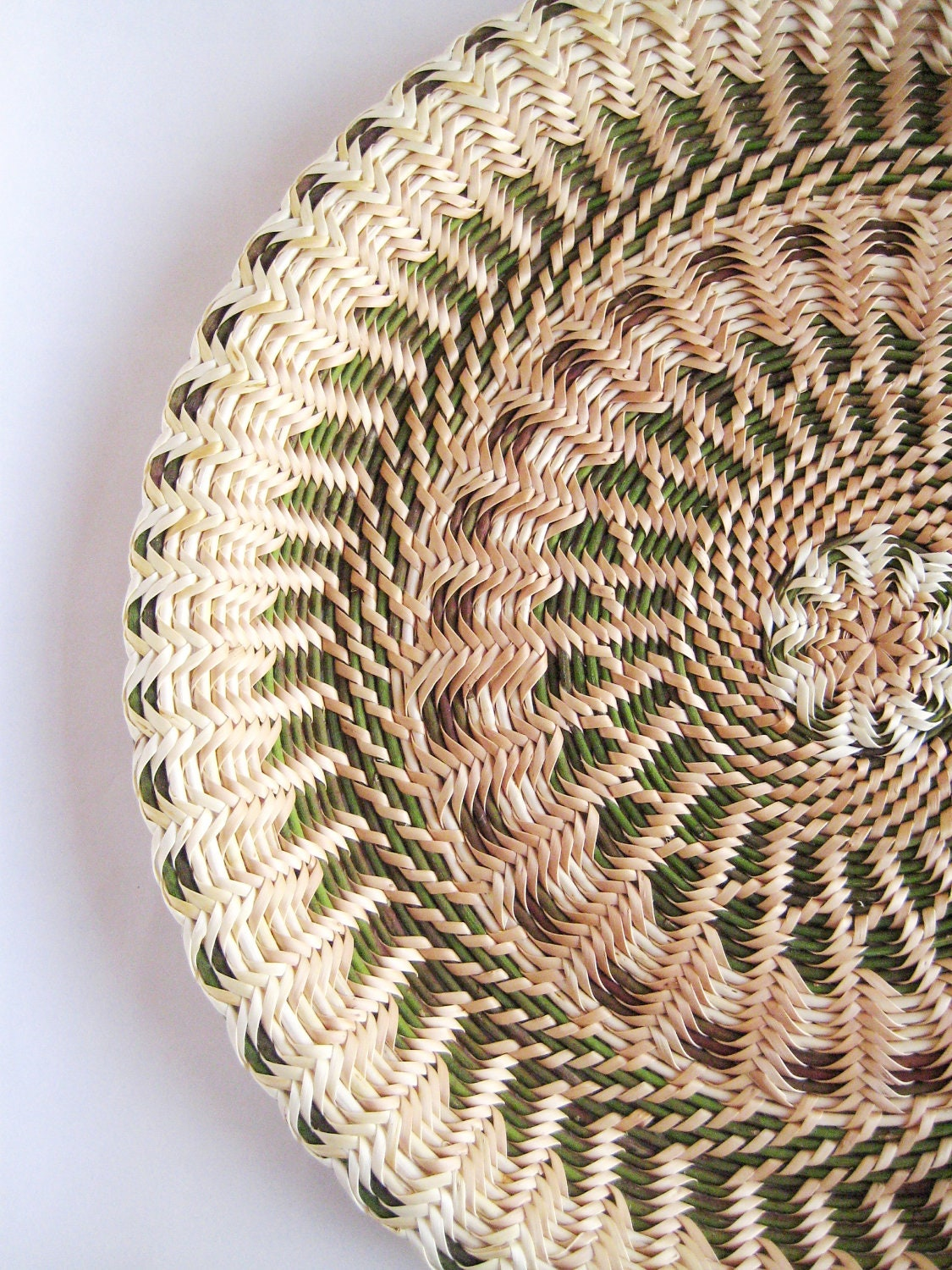 Large hand woven wicker plate Mother day gift idea Wooden wall