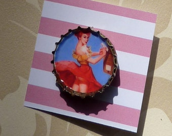50's Cheeky Pin up Upcycled Bottlecap Brooch
