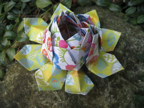 BRIGHT & HAPPY Origami Lotus. Unique Gift, Wedding Decoration, Favor. Just Because. Under 10. CUSTOM Orders Welcome.