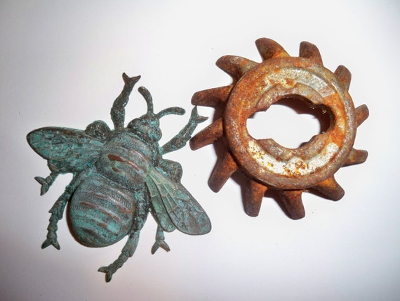 2 Patina Rust Pieces for Mixed Media, Jewelry Art, Display and More - Bee and Sun Swirl