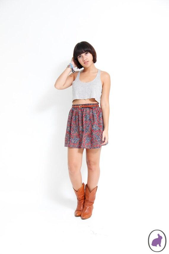 Vintage 90s Red Paisley Mini Skirt - Summer Fall Fashion - Small Medium