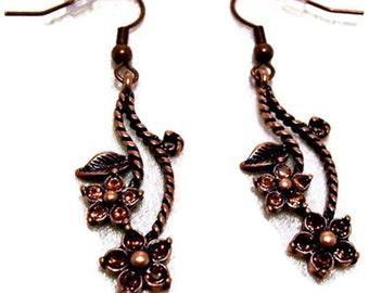 SPECIAL Copper Earrings Flower Earrings Amber Swarovski Crystals Gift for mom