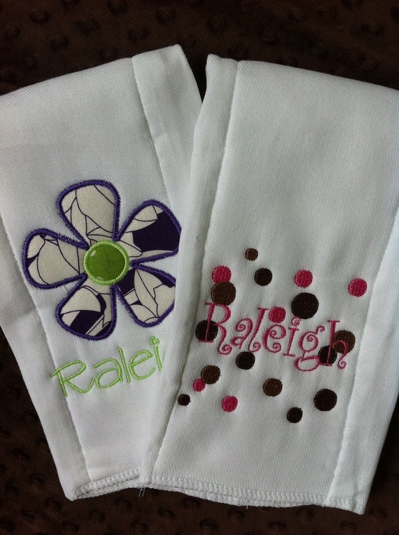Set of 2 Personalized Burp Cloths - Diaper Cloths - Baby Girl - Monogrammed - Gift Set