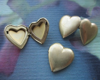 Vintage Raw Brass Heart Lockets  6Pcs.