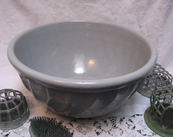 Vintage Pale Blue Pottery Mixing Bowl antique