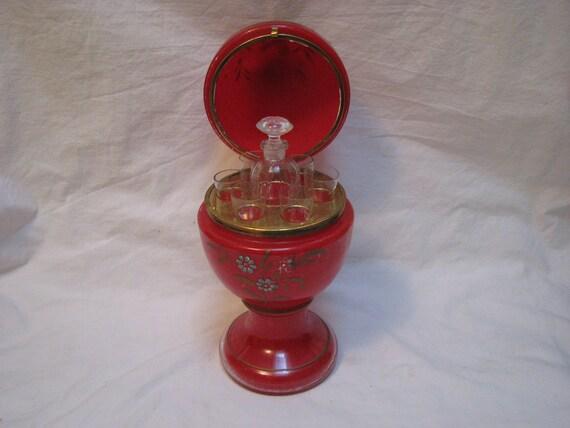 Antique Czechoslovakian Tantalus Art Glass Egg Shaped