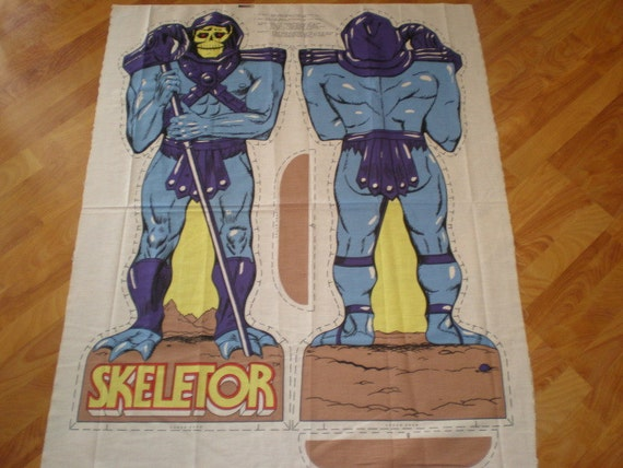 vintage SKELETOR sewing pillow project panel Masters of the Universe