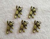 5 Piece Antique Bronze Fitness Teddy Bear Charm & Pendant Tibetan Style Jewelry Findings A15377