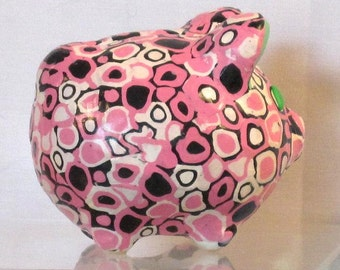 Little piggy bank pink/white/black polymer clay