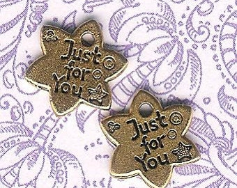 DOLLAR DEAL,Antique Gold Just For You Logo Tag Star- 6 pieces