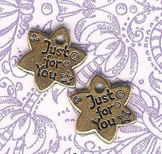 Antique Gold Just For You Logo Tag Star- 6 pieces
