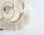 Vintage inspired pale beige and ivory white detachable collars Set of two Back to school Sisters outfits Girl accessory Fashion Lace oht