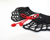 Halloween costume accessory Vampire black red detachable collar Women Adult size Fall Autumn fashion Crochet lace Spider web Gothic oht